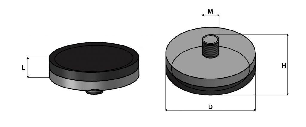 Bases magnéticas cobertas com nylon